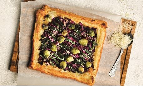 Red cabbage, Brussels sprout and bean tart