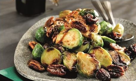 Balsamic glazed oven roasted brussels sprouts with toasted pecans