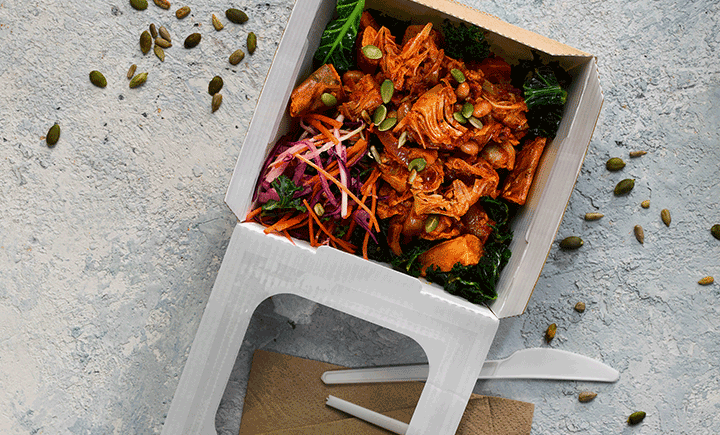 Sweet potato & kale hash – jackfruit tinga